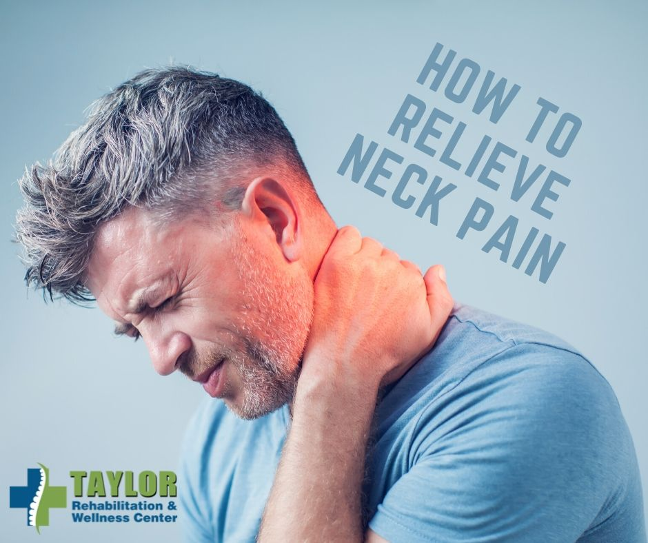 Man Holding Neck, Reads How To Relieve Neck Pain